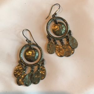 Bronze hammered drop earrings